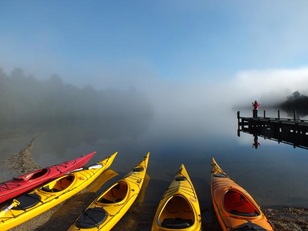 Morning mist on Lake Mapourika kayaking