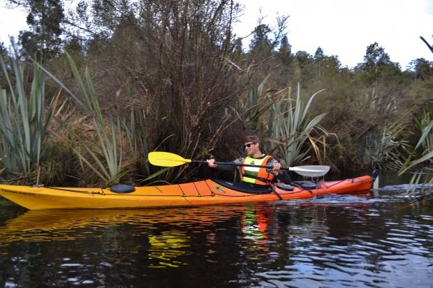 Excitement kayaking on Lake Mapourika