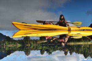 Lake Mapourika reflection kayak