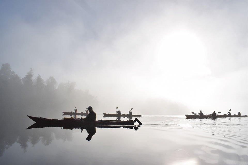 kayaks, mist, lake