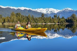 kayak, moutains and glaciers